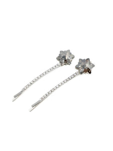 Embellished Dodecagram Star Hair Pin 2-pack Smoke