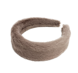 Furry headband in beige grey color