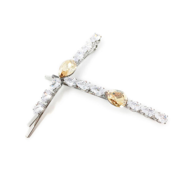 Pear Center Hair Pin 2-pack Champagne