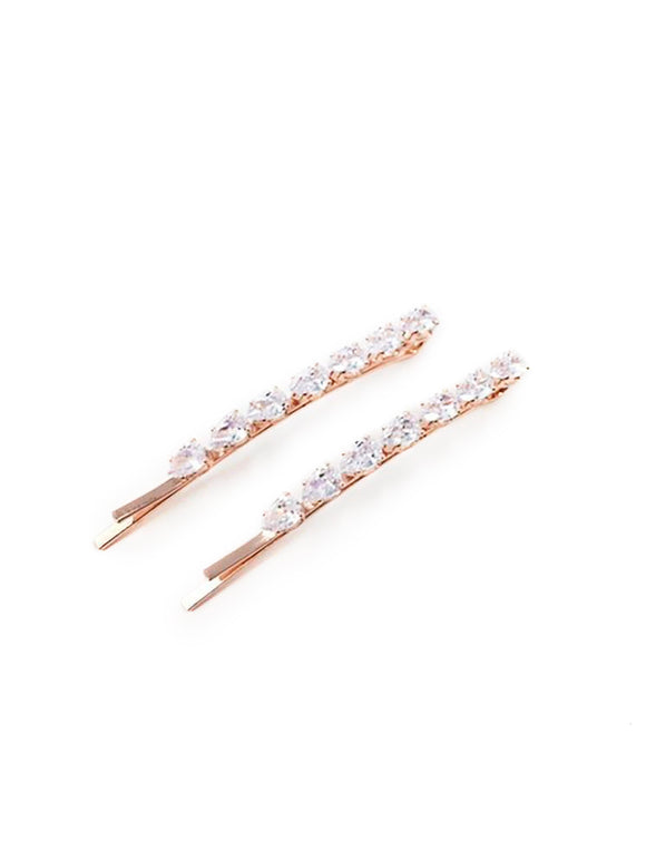 Pear Crystal Row Hair Pin 2pk Rose Gold