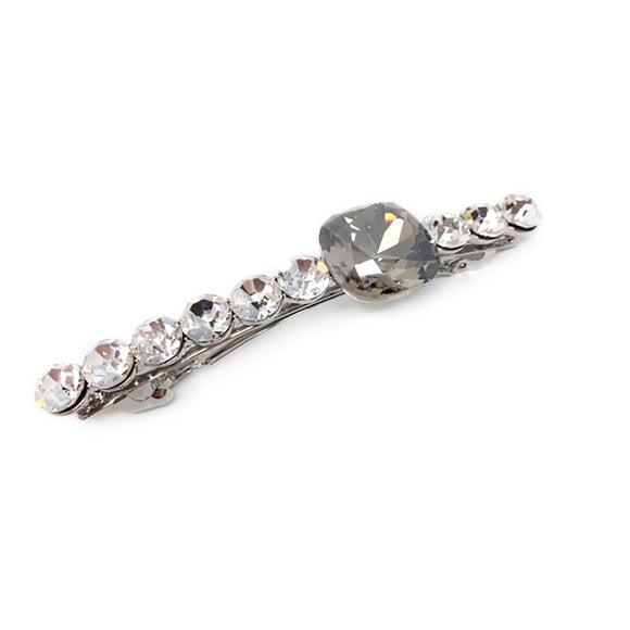 Queen Asscher Row Hair Clip Silver & Black