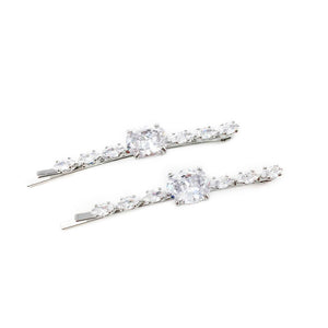 Round Crystal Centered Hair Pin 2pk Silver