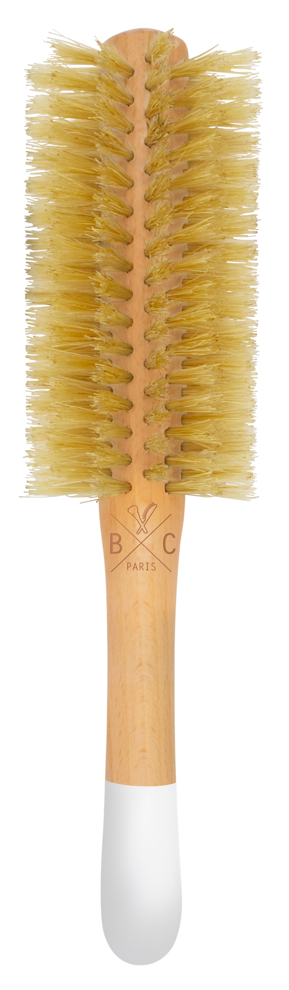 Wooden round brush - boar and nylon bristles