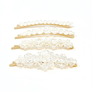 Clear Pearl Hair Pin 4pk