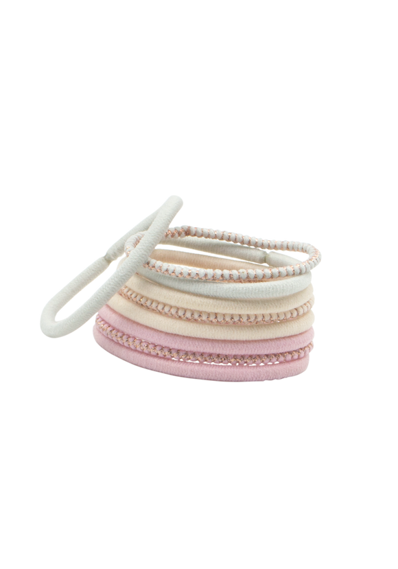 Thick pastel-and-lurex elastics hair ties x9