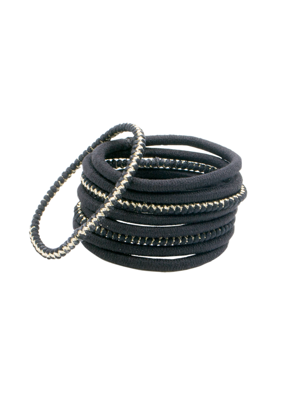 Thick black-and-lurex elastics hair ties x9