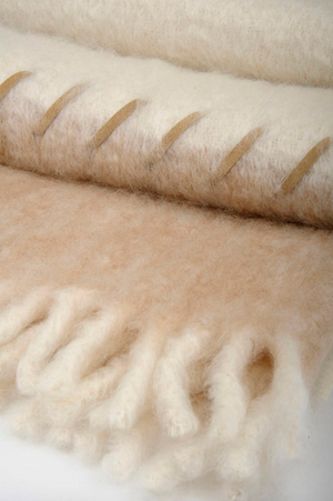 Felted Mohair + Suede Stitched Blanket