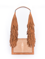 Stingray + Nubuck Fringe Shoulder Bag - Bronze