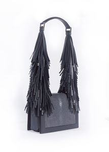 Stingray + Leather Fringe Shoulder Bag - Navy