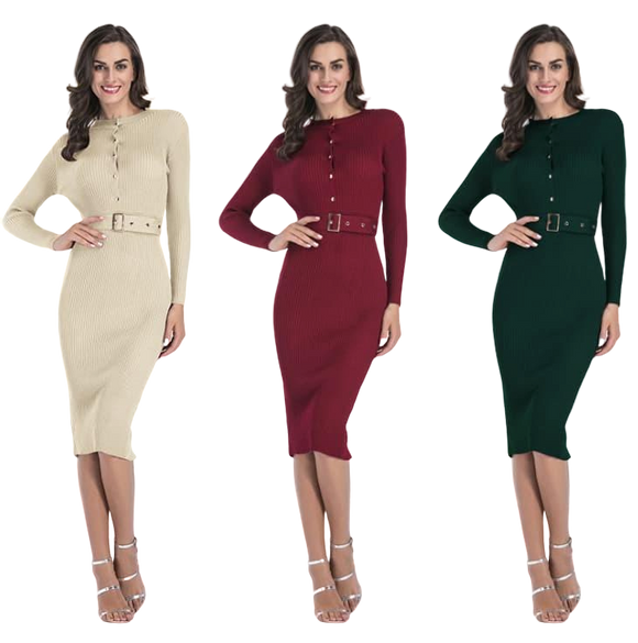 Autumn Winter Button Down Buckled Sweater Dress - Long Sleeve Pencil Dress - Knitted and Fitted - Below Knee - i-love-fashion-365