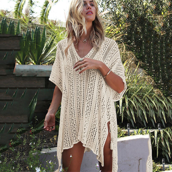 Swimwear  Women Cover Ups Sleeve Kaftan Beach Dress  Solid White Cotton Poolside Cover Up Resort Wear - i-love-fashion-365