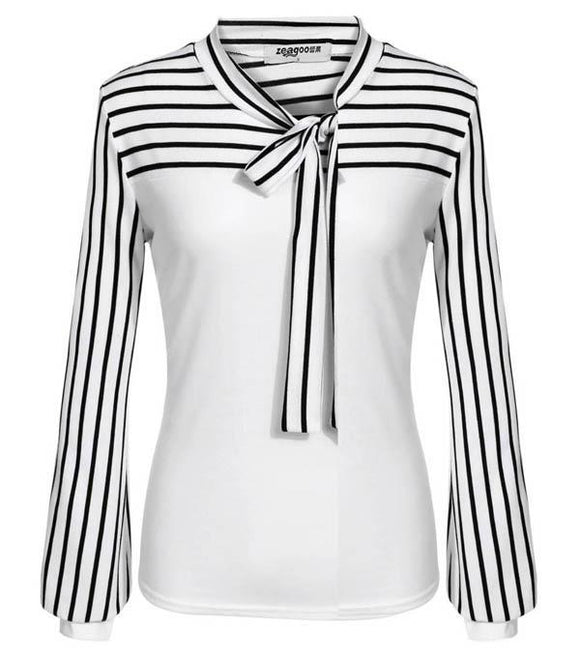 Striped Slim Women Patchwork Sleeve Fashion O-Neck Designer Blouse Tops Long Sleeves - i-love-fashion-365