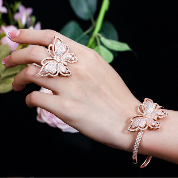 Luxury Style - Bling Butterfly Bangle Bracelet Fashion - Rose Gold or White Gold Color - i-love-fashion-365