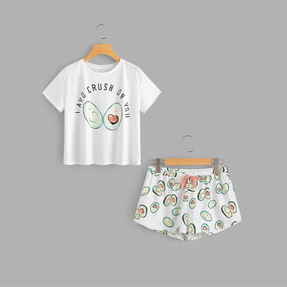 Printed Cartoon Avocado Round Neck Set includes Top And Bow Front Shorts Pajama  2019 New Woman Short Sleeve Tee Casual Pjs Pajama Set - i-love-fashion-365