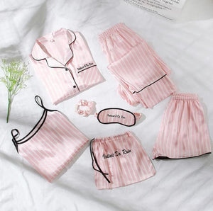 Pink 7 Piece Sleepwear Letter Embroidered Striped PJ Set With Shirt Pajamas For Women 2019 Casual Long Sleeve Loungewear - i-love-fashion-365