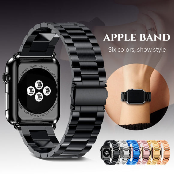 Stainless Steel Apple Watch Band Link Strap - Unisex - Apple Watch Series: 1 / 2 / 3 / 4 - i-love-fashion-365