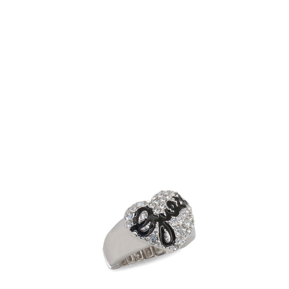 Guess - Heart Ring with Rhinestone Bling and Black Guess Logo - i Love Fashion 365 - Zovasa