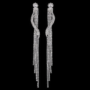 Shiny Rhinestone Super Long Wedding Earrings Tassel Drop Dangle Linear Earrings