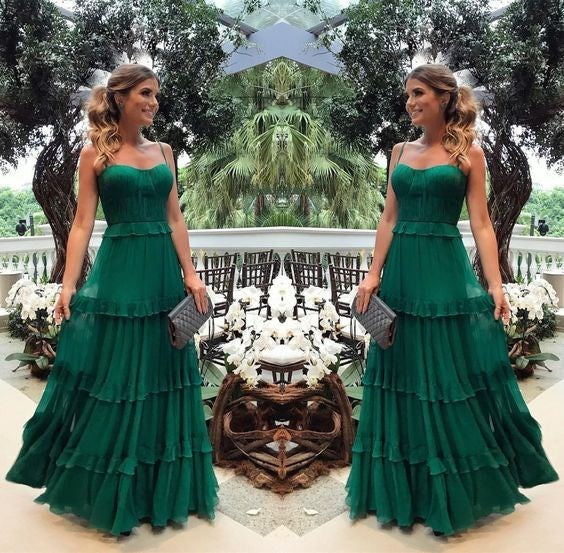 Solid Green  - Spaghetti Strap - Ruffles - Long Maxi Dress