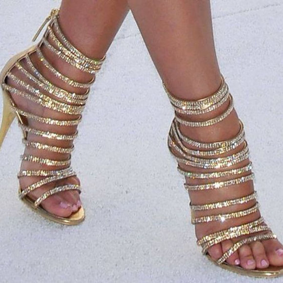 Golden Glitter Strappy Party Heels with Crystal Bling and Back Zip