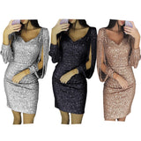 Women's Knee Length Party Dress Tassel Dresses Female Bodycon Long Sleeve Bright Silk Shiny Dress Black Gold Red Pink Silver - i-love-fashion-365