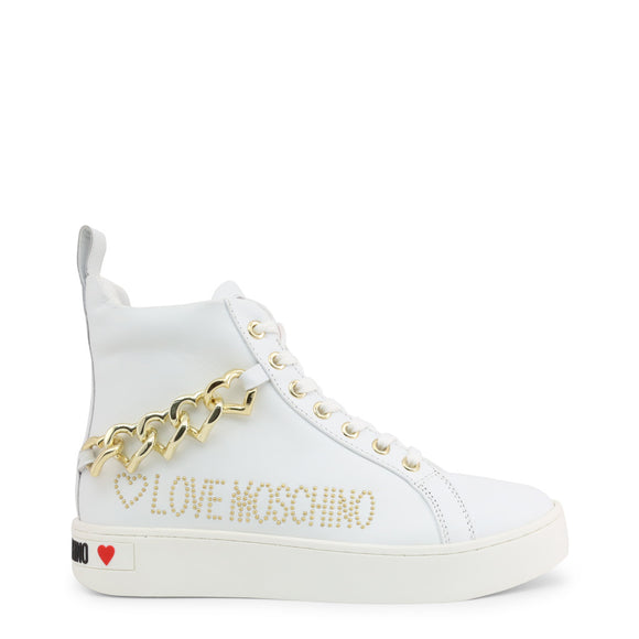 Love Moschino - Women's White High Top Chain Sneakers
