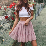 Casual polka dot mini women skirt High waist A line korean tassel pink summer skirt Sexy ruffle beach female skirts - i-love-fashion-365
