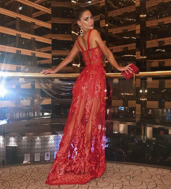 Strap Bandage Long Dress Lace Elegant Sexy Fashion Night Evening Attire New Arrival Red Bodycon Dresses Women - i-love-fashion-365