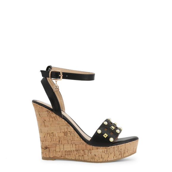 Laura Biagiotti - Black or Brown Studded Cork Wedges - Sandals - I Love Fashion 365 - Zovasa