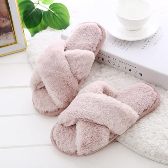 Black, Grey or Pink - Cozy Plush Women's Indoor Slippers - Ladies Furry Casual Slides - i-love-fashion-365