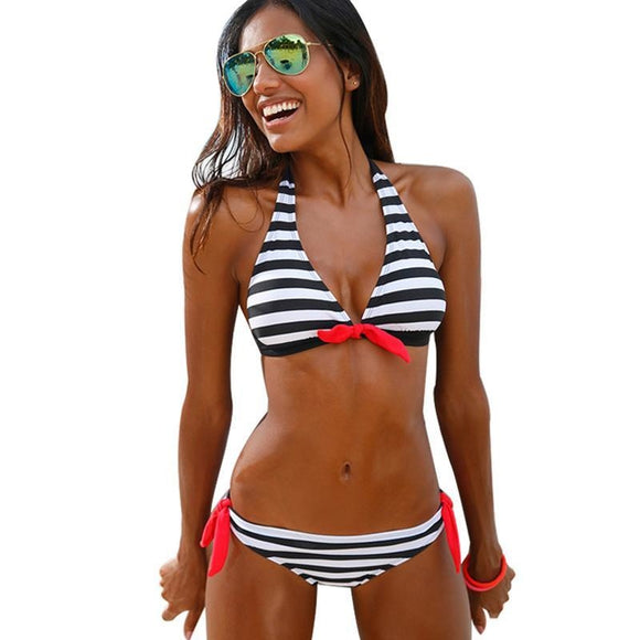 Sexy Active Style Bikinis - Women Striped Swimsuit Swimwear Set (Available in 3 colors) - i-love-fashion-365