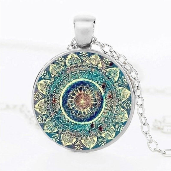 Vintage Glass Dome Necklace Buddhism Chakra Glass Cabochon Pendant Jewelry Om India Yoga Mandala Necklaces - i-love-fashion-365