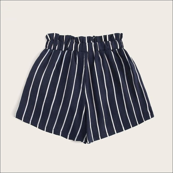 Striped Tie Waist Casual Women's Shorts - i-love-fashion-365
