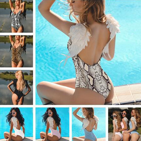 Woman Swimsuit Bikini Push Up Sexy Leopard Snake Printed Angel Wings Bathing Bikini Set - i-love-fashion-365