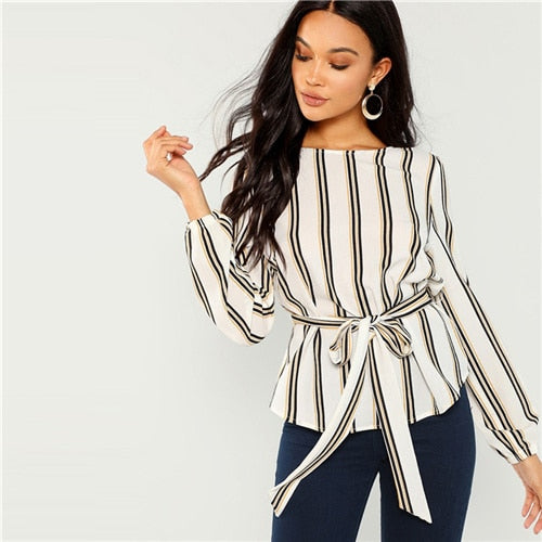 White Office Lady Elegant Striped Print Scoop Neck Long Sleeve Blouse Workwear Women Tops And Blouses - i-love-fashion-365