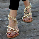 Vintage Fashion Women Leather Beading Flat Sandals Women Bohimia Beach Sandals Shoes - i-love-fashion-365