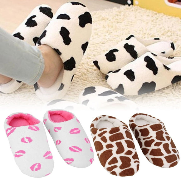 Women's Ultra Soft and Cozy Plush Indoor Anti-Slip Slippers - Lipstick or Dairy Cow Pattern - i-love-fashion-365