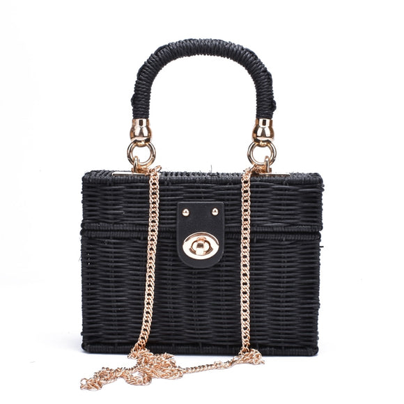 New Rattan Black or Light Beige Wicker Straw Shoulder Bag Women Hand-Woven Messenger Bag Perfect for Beach Square Box Straw Purse - i-love-fashion-365