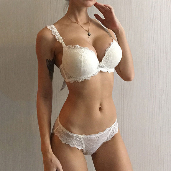 Frilly Women's Lacey Bra and Underwear Set -Push up Underwire Bra And Panties Sets - Comfortable Brassiere Adjustable Bra  Deep V Front Lingerie - i-love-fashion-365