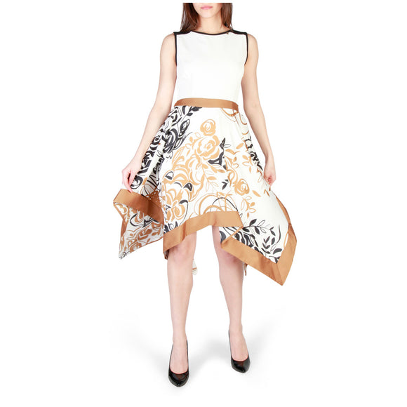 Rinascimento - Class and Elegance - White, Gold and Black Patterned Dress - I Love Fashion 365 - Zovasa