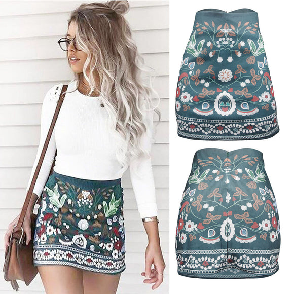Casual Fashion High Waist Floral Printed Above Knee Skirt Short A-Line Skirt Bodycon Mini Skirts Fitted - i-love-fashion-365
