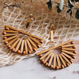 Simplee Boho Wood Semicircle or Full Circle Drop Earrings Female Vintage Handmade Women Earrings Fashion Ladies Accessories Fashion Jewelry - i-love-fashion-365