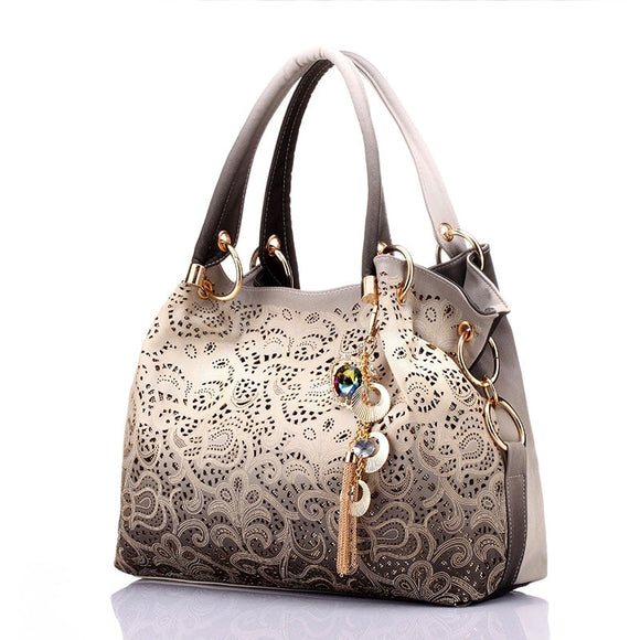 women bag hollow out ombre handbag floral print shoulder bags ladies tote bag red/gray/blue - i-love-fashion-365