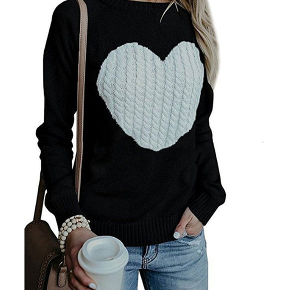 Women's Heart Pattern Printed Knitted Sweater Top - i-love-fashion-365