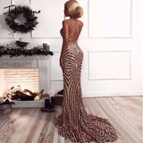 Elegant Deep V Neck Party Dresses Gold Sequined Maxi Dresses Backless Bodycon Evening Club Mermaid Dress - i-love-fashion-365