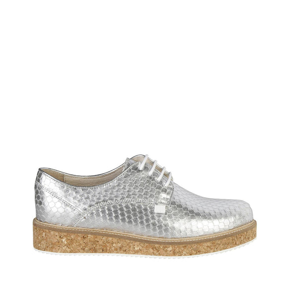 Trussardi - Silver Scaled Shimmer Flat Lace Up's