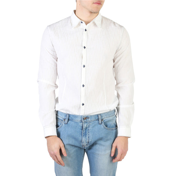 Armani Jeans - Men's White Button Down Collared Dress Shirt