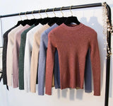 Women's Shiny Lurex Long Sleeve Pullover Sweater Tops - i-love-fashion-365