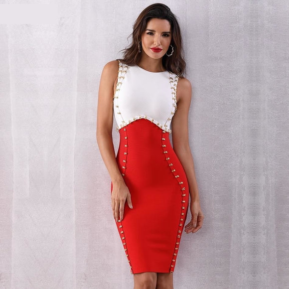 Dual Colored Women's Classy Embellished Knee Length Bandage Dress