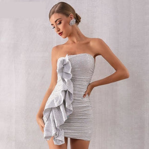 Silver Ruffles and Sequin Strapless Ultra Mini Dress